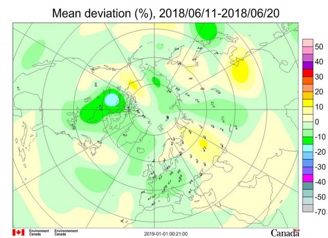 Рис. 2. Среднедекадные (11–20июня 2018 г.) аномалии общего содержания озона в Северном полушарии