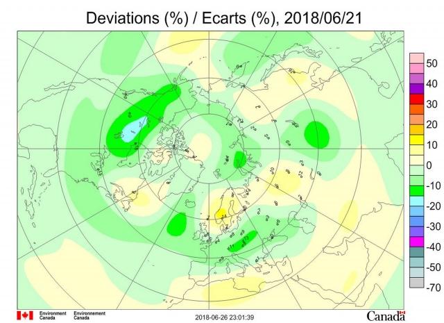 Рис. 5. Аномалии общего содержания озона 21 июня 2018 г. в Северном полушарии