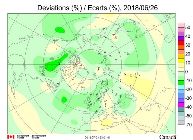 Рис. 6. Аномалии общего содержания озона в Северном полушарии 26 июня 2018 г