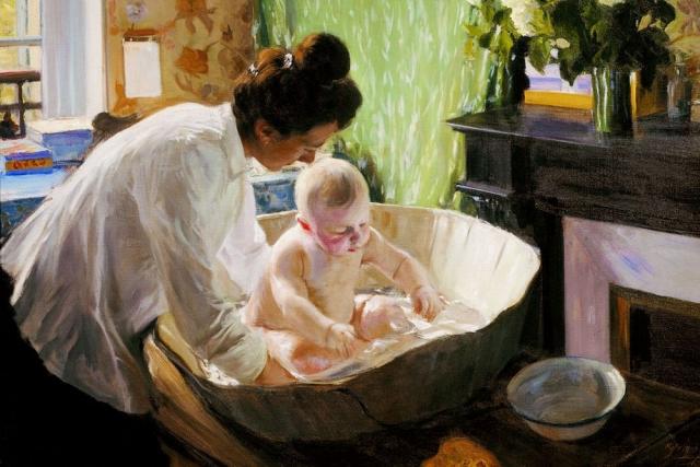 Борис Кустодиев. Купание ребенка
