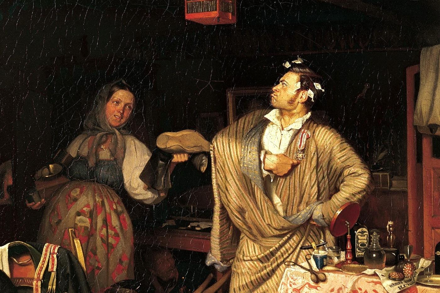 Павел Федотов. Свежий кавалер. Утро чиновника, получившего первый крестик (фрагмент). 1846