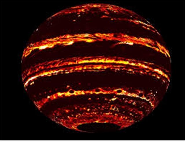 Рис. 3. Свечение Юпитера в инфракрасных лучах, снятое межпланетным зондом Юнона (Juno). Источник: NASA