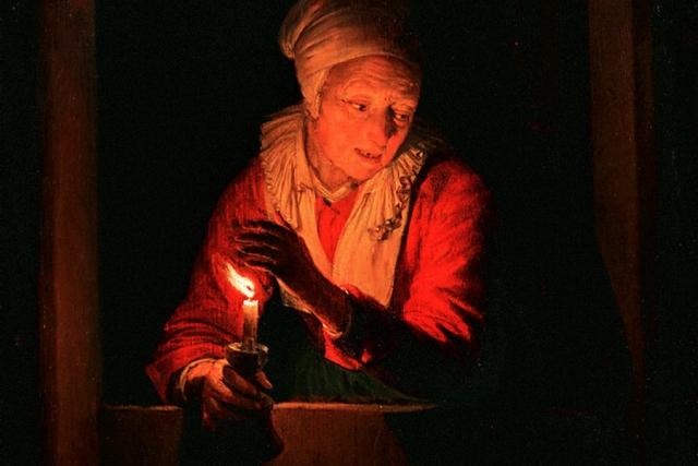 Герард Дау. Старуха со свечой (фрагмент). 1661