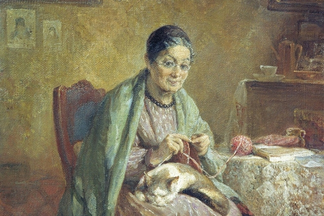 Николай Кошелев. Старушка с вязанием (фрагмент). 1908