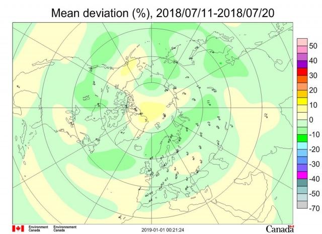 Рис. 2. Среднедекадные (11–20 июля 2018 г.) аномалии общего содержания озона в Северном полушарии