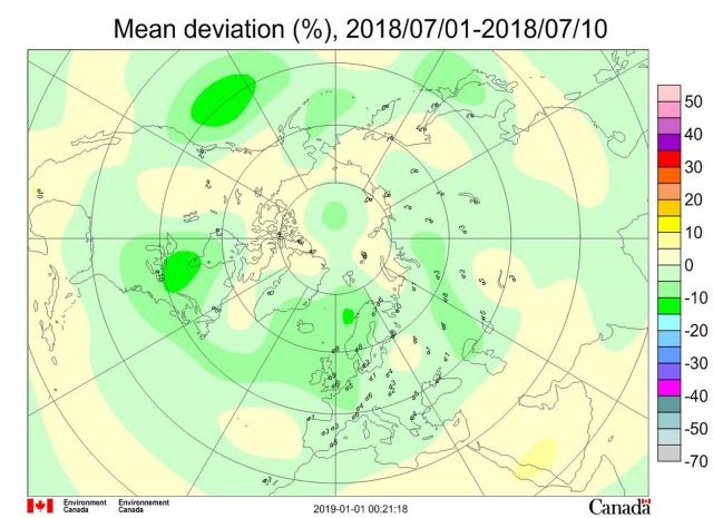 Рис. 1. Среднедекадные (1–10 июля 2018 г.) аномалии общего содержания озона в Северном полушарии