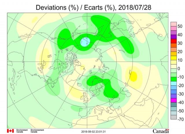 Рис. 4. Аномалии общего содержания озона 28 июля 2018 г. в Северном полушарии