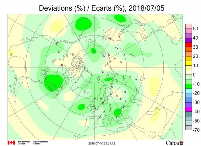 Рис. 5. Аномалии общего содержания озона 5 июля 2018 г. в Северном полушарии