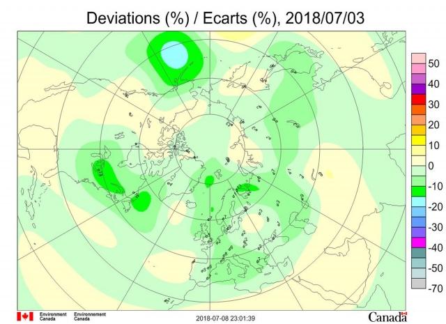 Рис. 6. Аномалии общего содержания озона 3 июля 2018 г. в Северном полушарии