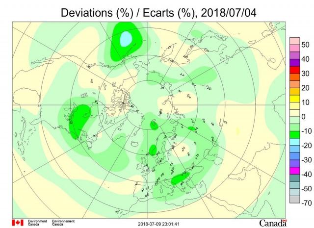 Рис. 7. Аномалии общего содержания озона 4 июля 2018 г. в Северном полушарии