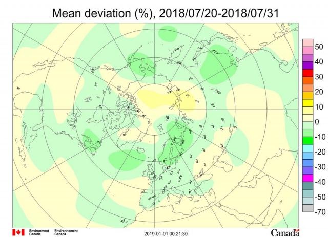 Рис. 3. Среднедекадные (21–30 июля 2018 г.) аномалии общего содержания озона в Северном полушарии