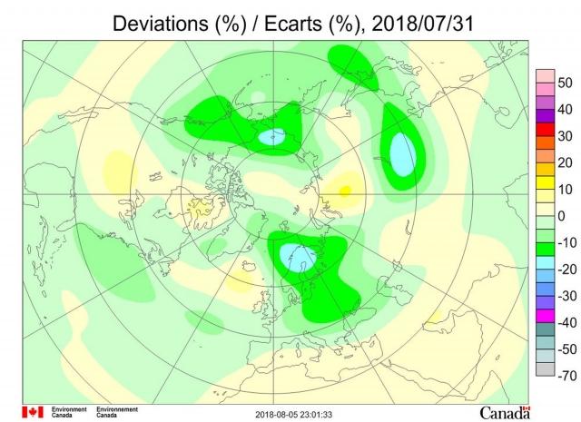 Рис. 8. Аномалии общего содержания озона 31 июля 2018 г. в Северном полушарии