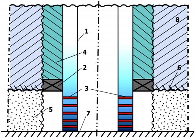 Рис. 8. Схема забоя скважины (пояснения в тексте)