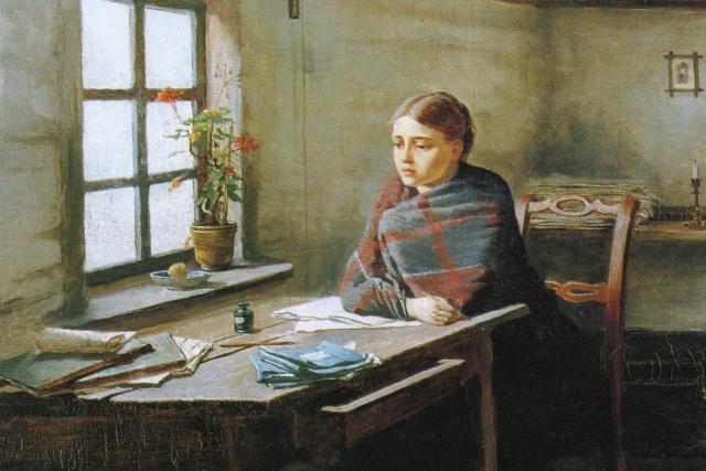 Константин Трутовский . Сельская учительница (фрагмент). 1883