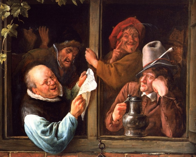 Ян Стен. Болтуны у окна. 1665