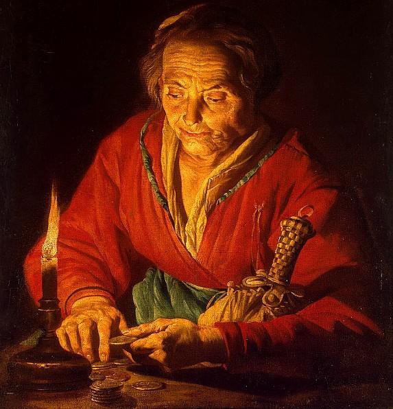 Матиас Стомер. Старуха со свечой (фрагмент). 1640