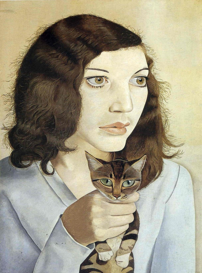 Люсьен Фрейд. Девушка с котенком. 1947