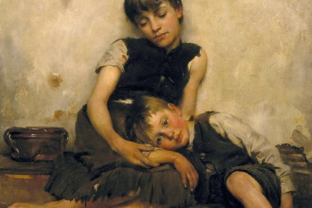 Томас Бенджамин Кеннингтон. Сироты (фрагмент). 1885