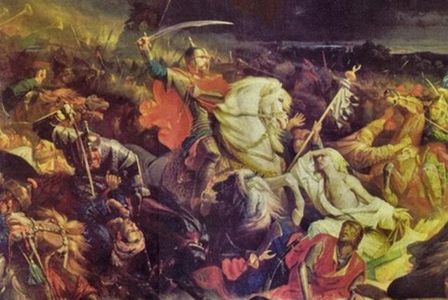 Адольф Ивон. Куликовская битва (фрагмент). 1859