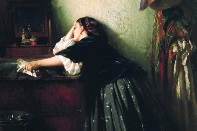 Константин Маковский. Вдова (фрагмент). 1865
