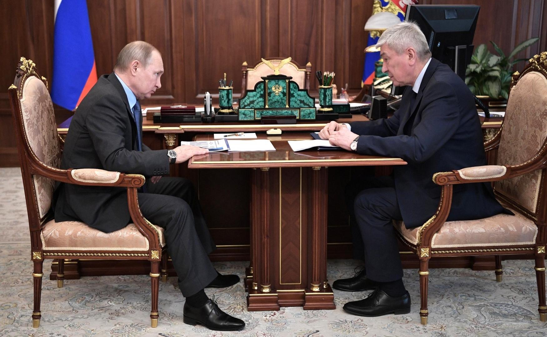 Встреча Владимира Путина с главой Росфинмониторинга Юрием Чиханчиным