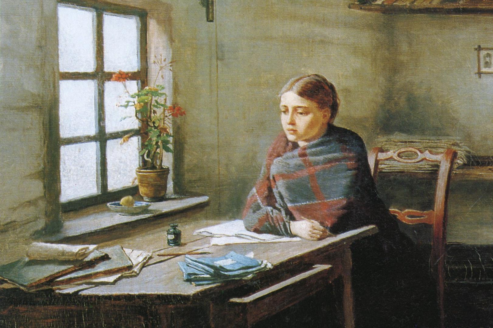 Константин Трутовский. Сельская учительница (фрагмент). 1883