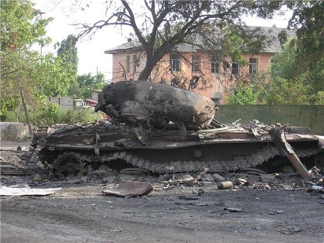 Подбитый грузинский Т-72 в Цхинвале