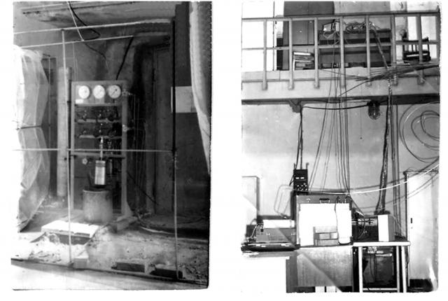 Рис. 8. Первая установка 1989 года для исследования холодного ядерного синтеза в СФ НИКИЭТ. Слева — газовая часть высокого давления, справа — экспериментальная ячейка с детекторами