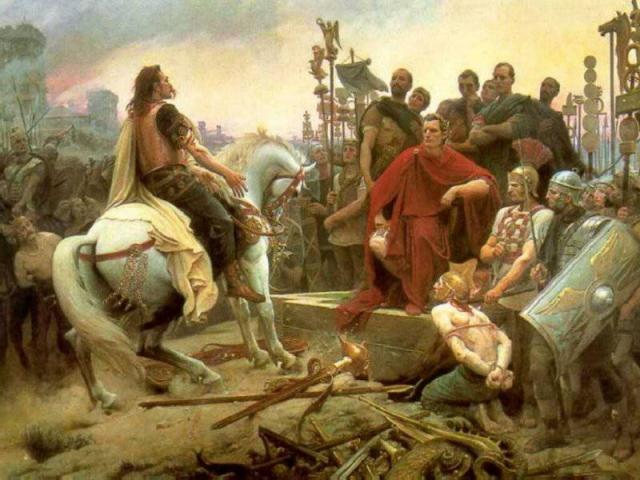 Лионель Ройер. Сдача в плен Цезарю галльского вождя Версиренгеторикса. 1899