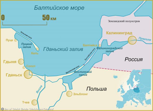 Гданьский залив. Карта
