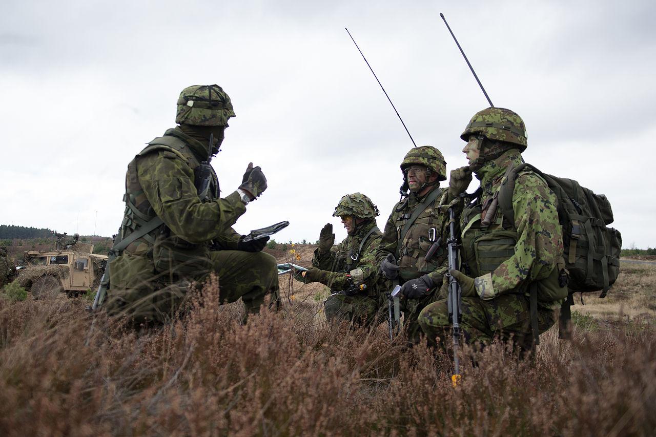 Солдаты Союза обороны Эстонии на военных учениях