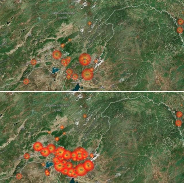 Карта забайкальских пожаров (Космоснимки) с разницей в сутки