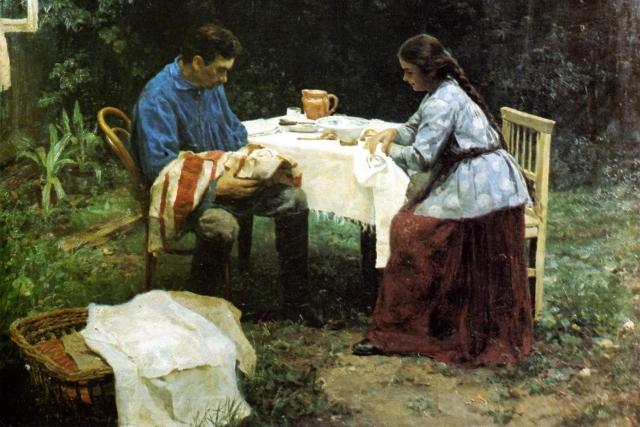 Николай Касаткин. Рабочая семья Что его ждет. 1891