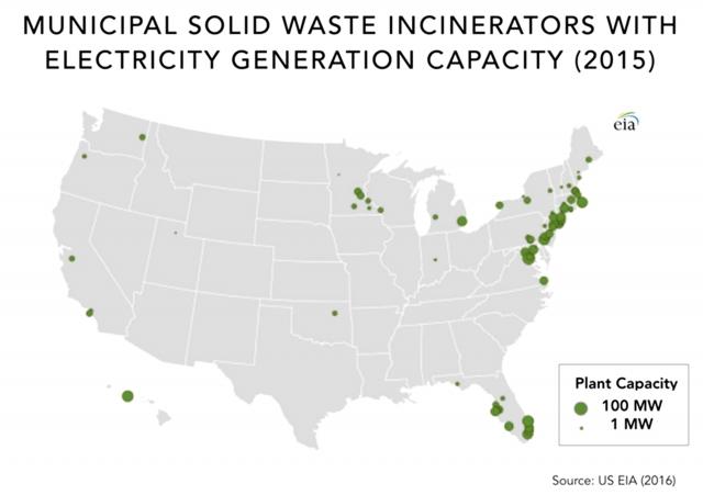 Рис. 2. Расположение муниципальных МСЗ разной электрической мощности в США