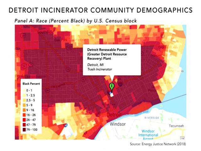 Рис. 8. Доля чернокожего населения, проживающего вокруг МСЗ в Детройте