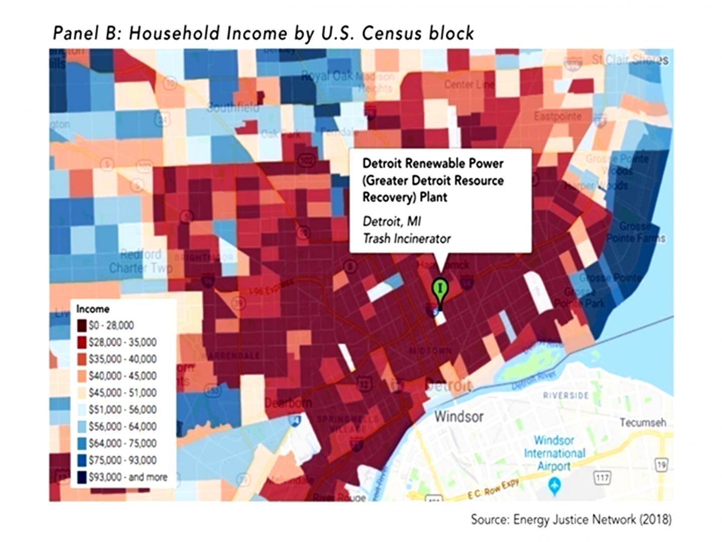 Рис. 9. Доля домохозяйств с низким доходом вокруг МСЗ в Детройте (красный)