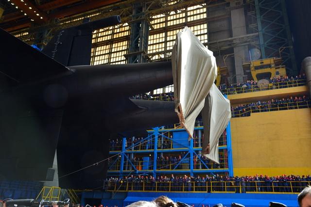 Подводная лодка-носитель беспилотников «Белгород» спущена на воду
