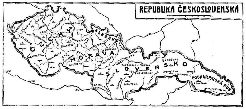 Карта Первой Чехословацкой республики