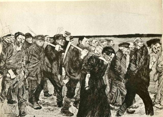 Кете Кольвиц. Марш силезских ткачей. 1897
