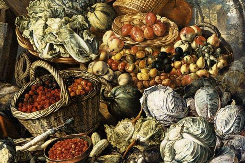 Иоахим Бейкелар. Продащица с фруктами, овощами и птицей (фрагмент). 1564