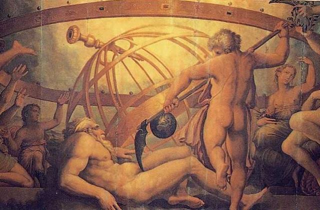 Джорджо Вазари и Жерарди Христофано. Оскопление Урана Кроном. XVI в. (фрагмент)