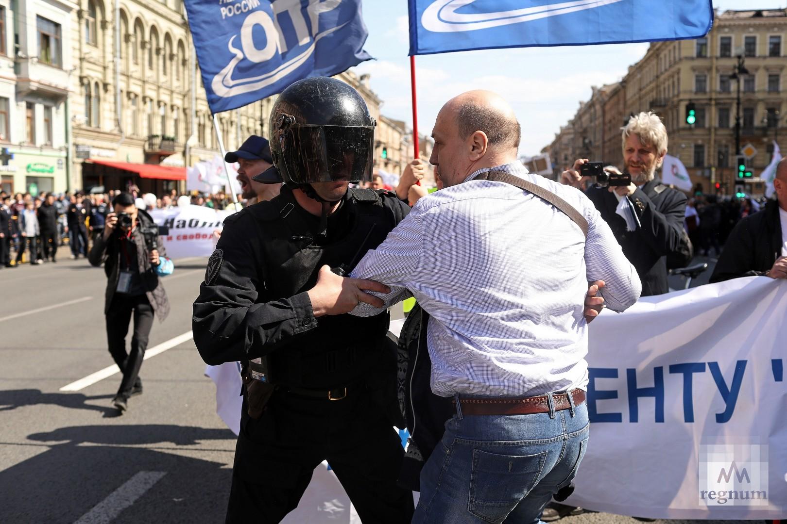 Задержание 1 мая на Невском проспекте