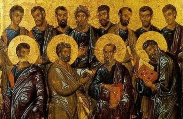 Византийская икона Собор Двенадцати Апостолов (фрагмент). начало XIV века