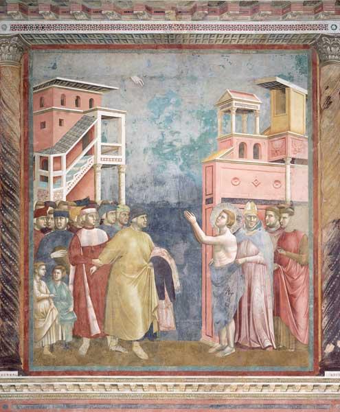 Джотто ди Бондоне. Святой Франциск от казывается от имущества. 1295