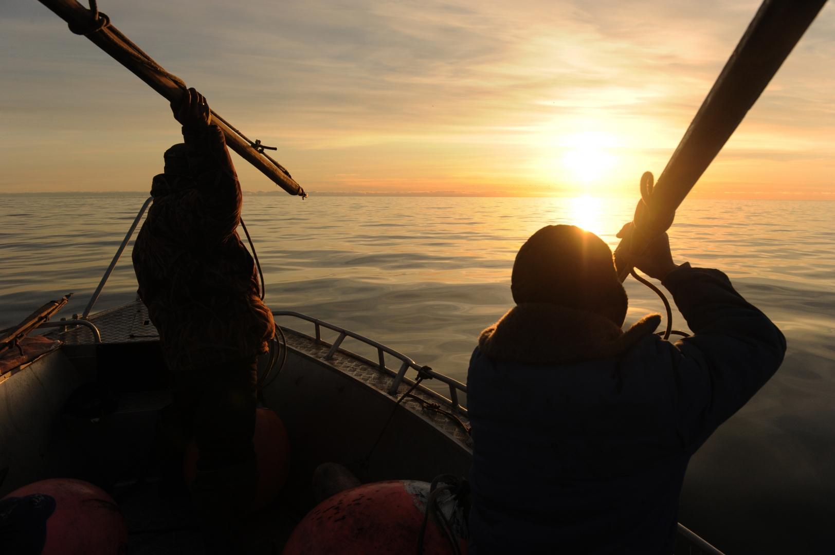 Боевое положение охотников в море в момент предстоящей атаки