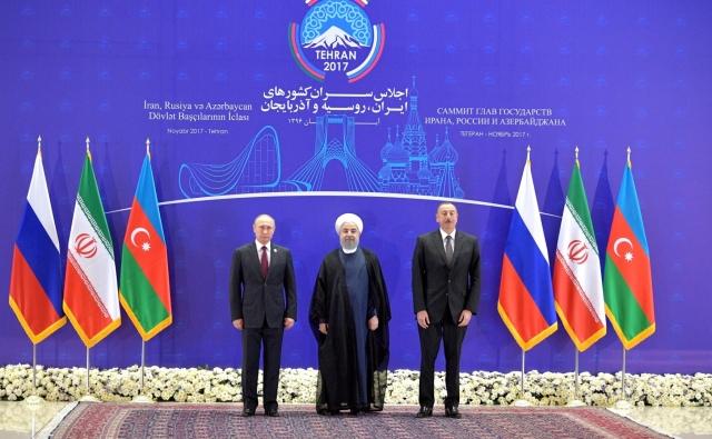 Владимир Путин, Хасан Рухани, Ильхам Алиев. Тегеран. 2017