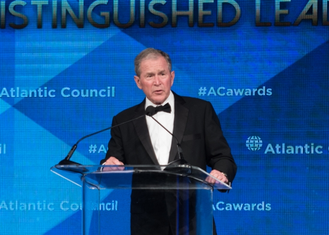 Выступление бывшего президента США Джорджа Буша после получения награды Atlantic Council