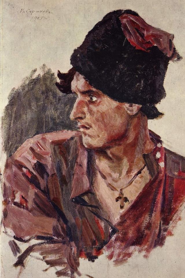 Василий Суриков. Голова молодого казака. 1905