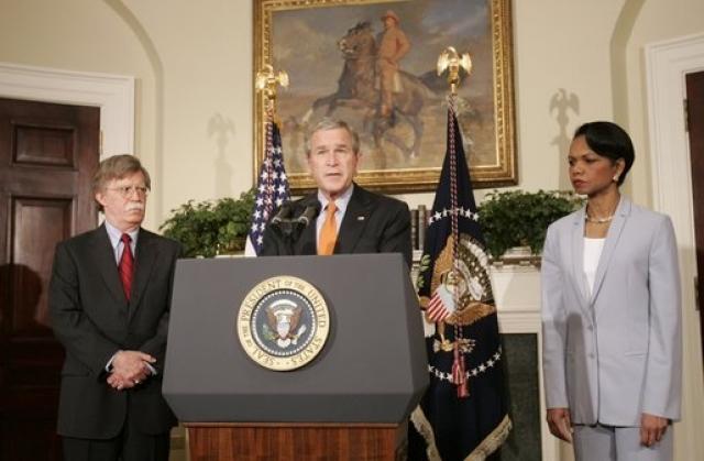 Джордж Буш-младший объявляет о назначении Болтона постоянным представителем США в ООН