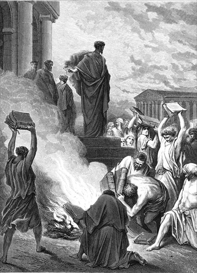 Гюстав Доре. Апостол Павел сжигает книги в Эфесе. XIX век